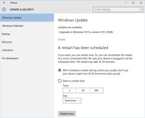 Windows Update 1511 - Restart
